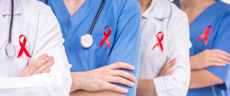 Doctors and Nurses with AIDS Red Ribbons